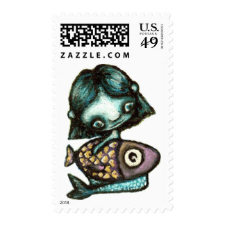 Mermaid-and-fish Postage Stamp