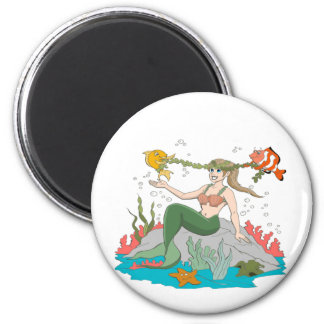 Mermaid and Friends 2 Inch Round Magnet