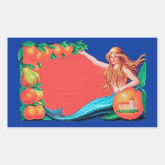 Mermaid and Fruit Crate Label Art Rectangular Sticker