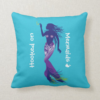 Mermaid and Golden Hook Throw Pillow