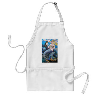 mermaid and her dog adult apron