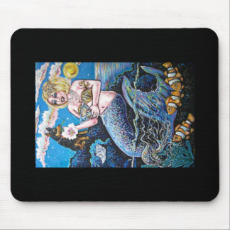 mermaid and her dog mouse pad