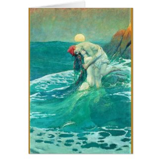 Mermaid and Man Greeting Card