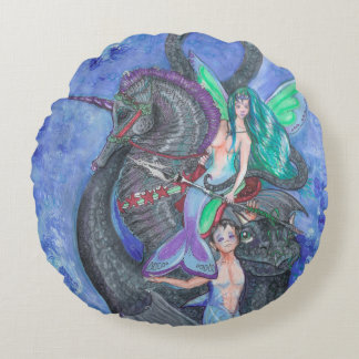 Mermaid and Merman with Seahorse and Sea Dragon Round Pillow