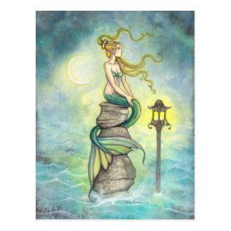 Mermaid and Moon Fantasy Art by Molly Harrison Post Card