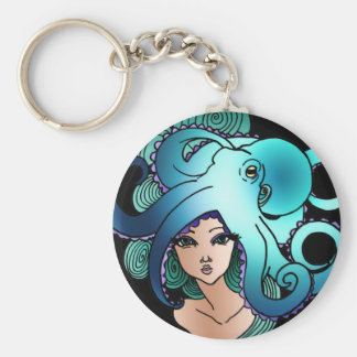mermaid and octopus basic round button keychain