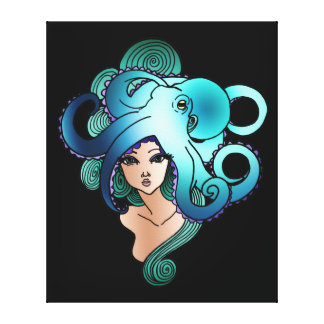 mermaid and octopus canvas print