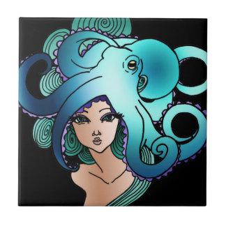 mermaid and octopus ceramic tile