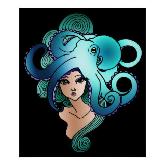 mermaid and octopus posters