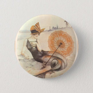 Mermaid and Parasol Button