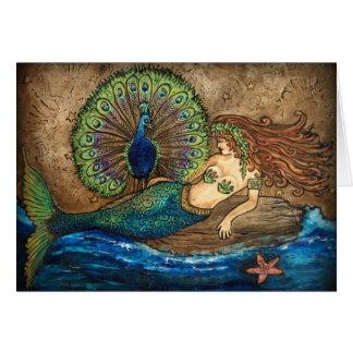 Mermaid and Peacock Greeting Card