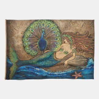 Mermaid and Peacock Hand Towels