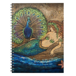 Mermaid and Peacock Spiral Notebook