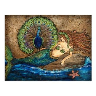 Mermaid and Peacock Postcard
