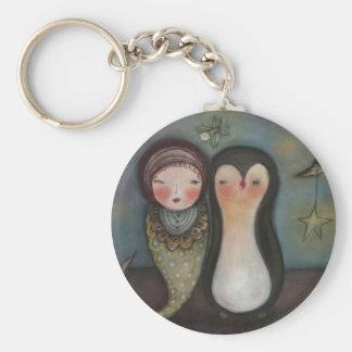 mermaid and penquin keychain