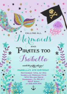 mermaid birthday invitations zazzle