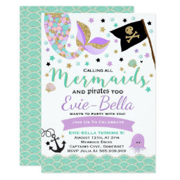 Pirate birthday invitations announcements zazzle mermaid and pirate birthday invitation filmwisefo Images