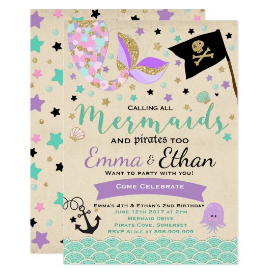 Mermaid and pirate birthday invitation joint party zazzle mermaid and pirate birthday invitation joint party filmwisefo