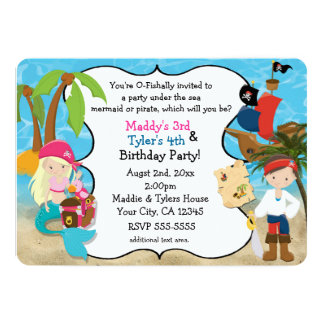 "Mermaid and Pirate Birthday Party Invitations 5"" X 7"" Invitation Card"