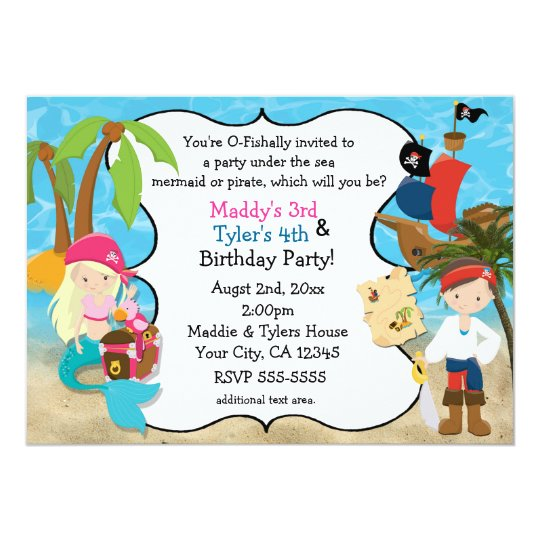 Mermaid And Pirate Birthday Party Invitations Zazzle Com