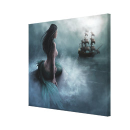 Mermaid and Pirate Ship Canvas Print