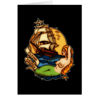 Mermaid and Pirate Ship Greeting Cards