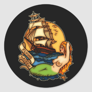 Mermaid and Pirate Ship Classic Round Sticker