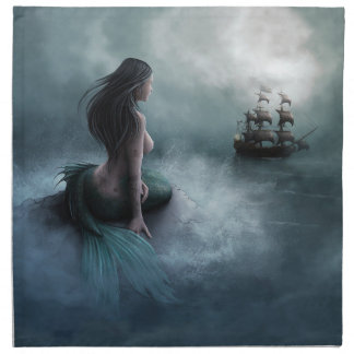 Mermaid and Pirate Ship Cloth Napkin