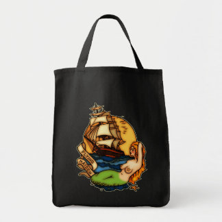 Mermaid and Pirate Ship Tote Bag