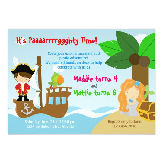 mermaid and pirate twins joint birthday party invitation zazzle com