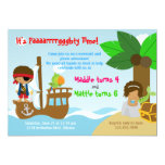 Mermaid and Pirate Twins Joint Birthday Party Personalized Invitation
