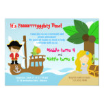 Mermaid and Pirate Twins Joint Birthday Party 5x7 Paper Invitation Card