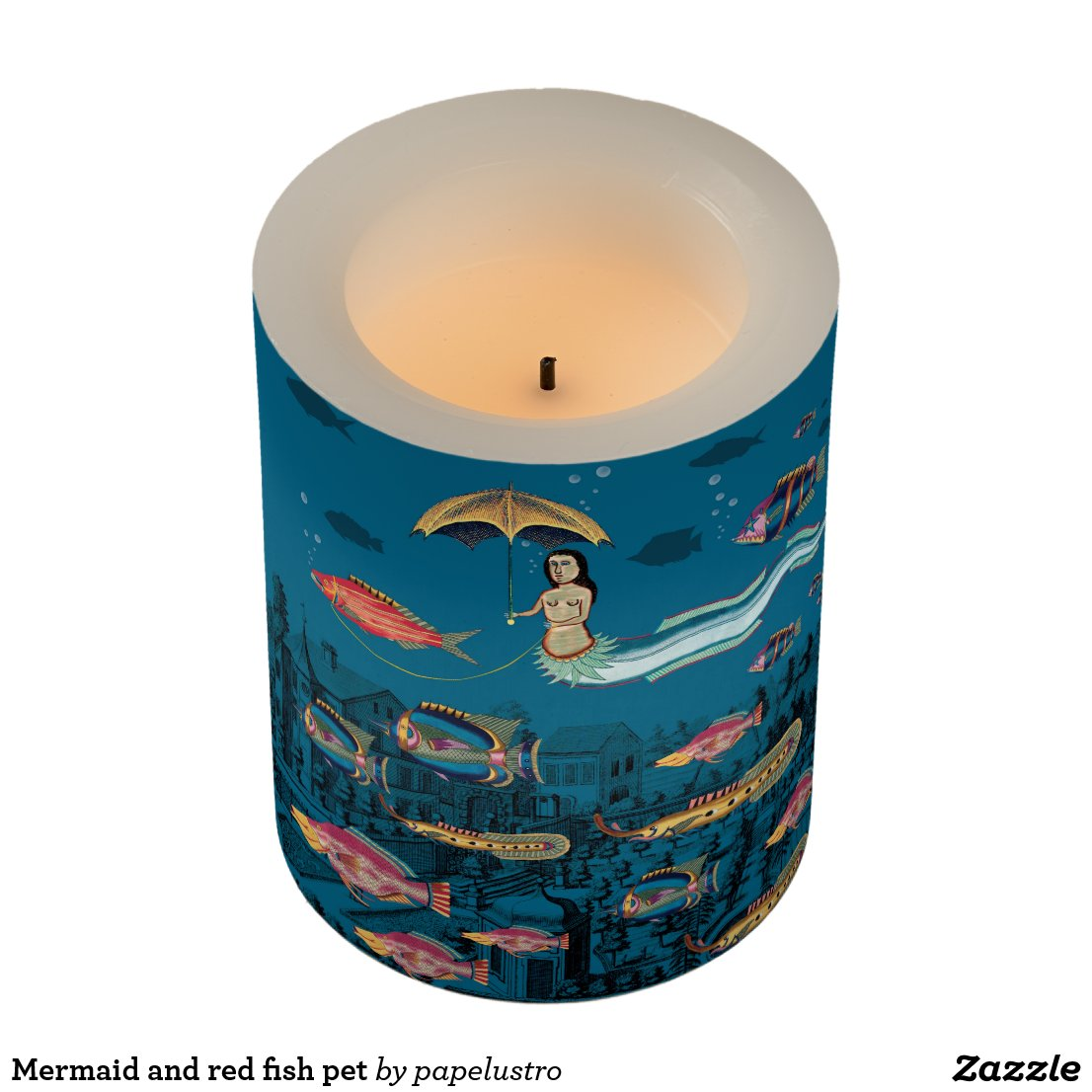 Mermaid and red fish pet flameless candle