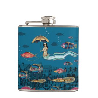 Mermaid and red fish pet flask