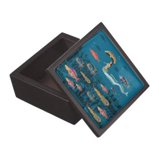 Mermaid and red fish pet jewelry box