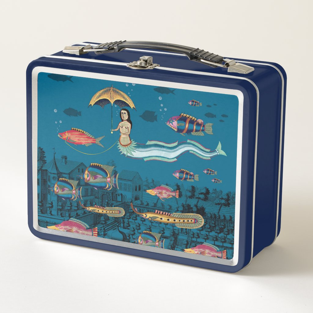 Mermaid and red fish pet metal lunch box