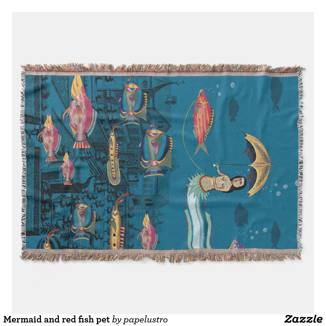 Mermaid and red fish pet throw blanket