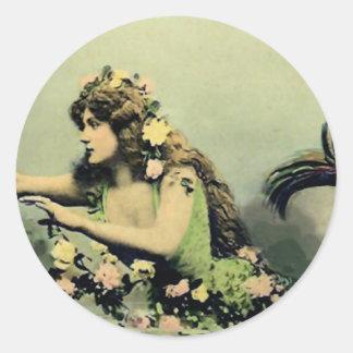 Mermaid and Roses Classic Round Sticker