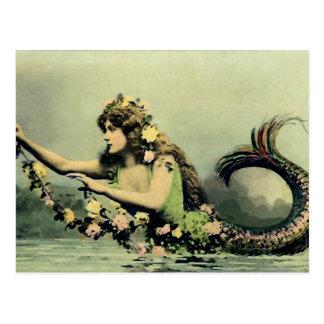 Mermaid and Roses Postcard