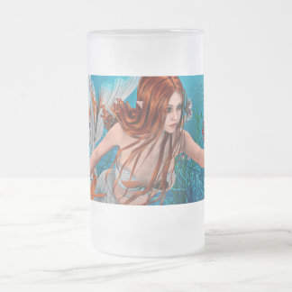 Mermaid and Sea Lily Frosted Glass Beer Mug