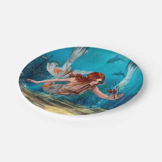 Mermaid and Sea Lily Paper Plate