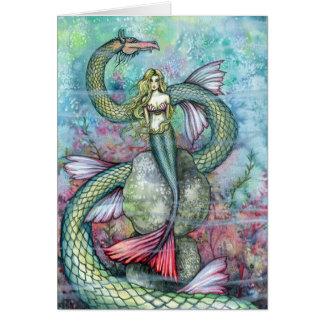 Mermaid and Sea Serpent Card ~ Blank