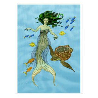 Mermaid and Sea Turtle Postcard