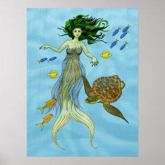 Mermaid and Sea Turtle Poster