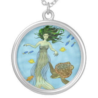 Mermaid and Sea Turtle Silver Plated Necklace