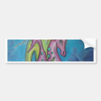Mermaid and seahorse bumper sticker