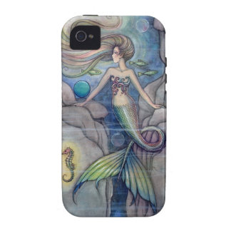 Mermaid and Seahorse Fantasy Art by Molly Harrison iPhone 4 Cases