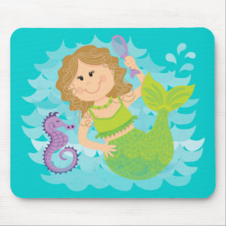 Mermaid and Seahorse Mouse Pad