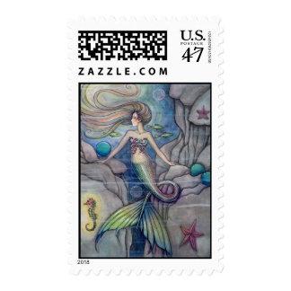 Mermaid and Seahorse Postage Stamps