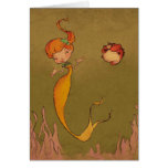 mermaid and seahorse stationery note card
